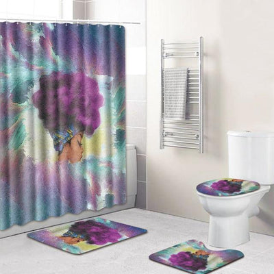 BigProStore Pretty Black Girl Shower Curtain Set Cool African Bathroom Accessories Set 4pcs - Purple Hair Afro Girl Opt#3 Shower Curtain