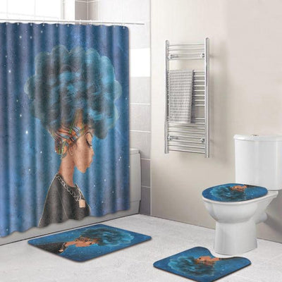BigProStore Pretty Black Girl Shower Curtain Set Cool African Bathroom Accessories Set 4pcs - Blue Hair Afro Girl Opt#4 Shower Curtain
