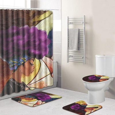 BigProStore Pretty Black Girl Shower Curtain Set Cool African Bathroom Accessories Set 4pcs - Purple Hair Afro Girl Opt#4 Shower Curtain