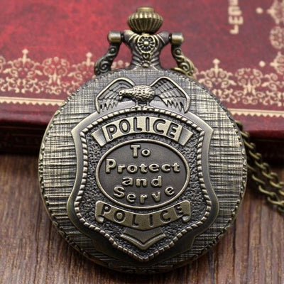 BigProStore Vintage Bronze Police Pocket Watch To Protect and Serve Thin Blue Line Pride Police Pocket Watch