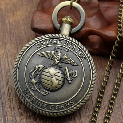 BigProStore Vintage Bronze Police Pocket Watch To Protect and Serve Thin Blue Line Pride USMC Pocket Watch