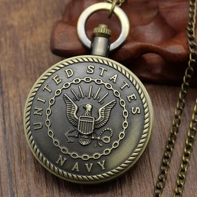 BigProStore Vintage Bronze Police Pocket Watch To Protect and Serve Thin Blue Line Pride Navy Pocket Watch