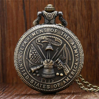 BigProStore Vintage Bronze Police Pocket Watch To Protect and Serve Thin Blue Line Pride Army Pocket Watch