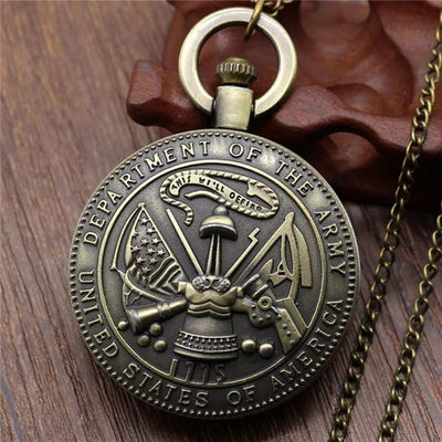 BigProStore Vintage Bronze Police Pocket Watch To Protect and Serve Thin Blue Line Pride US Army Pocket Watch