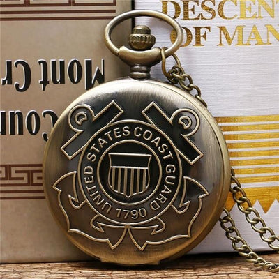 BigProStore Vintage Bronze Police Pocket Watch To Protect and Serve Thin Blue Line Pride Coast Guard v2 Pocket Watch