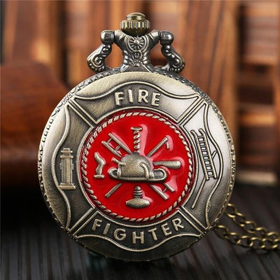 BigProStore Vintage Bronze Police Pocket Watch To Protect and Serve Thin Blue Line Pride Red FireFighter Pocket Watch