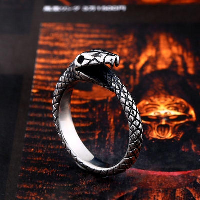 BigProStore Snake Ring Trendy Men Women Stainless Steel Snake Jewelry Gift Idea Ring