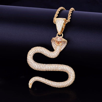 BigProStore Snake Necklace Fashion Gold Men Women Snake Jewelry Engagement Gift Gold / Cuban chain / 30inch Necklace