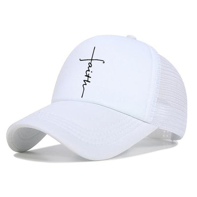 BigProStore Faith Letter Printed Baseball Cap Fashion Snapback Mesh Trucker Hat White Hat