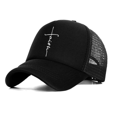 BigProStore Faith Letter Printed Baseball Cap Fashion Snapback Mesh Trucker Hat Black Hat