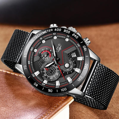 BigProStore Blue Casual Mesh Belt Wristwatch Military Sport Police Watch Men Gift Black Silver Wristwatch