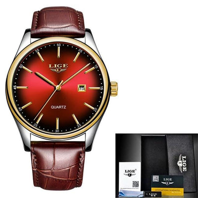 BigProStore Men Sport Military Red Firefighter Watch Cool Firemen Wristwatch Gear Red Leather Wristwatch