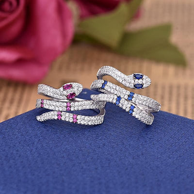 BigProStore Snake Ring Unique Fashion Blue Purple Crystal Women Snake Jewelry Gift Ring