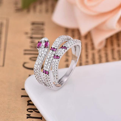 BigProStore Snake Ring Unique Fashion Blue Purple Crystal Women Snake Jewelry Gift 8 / Purple / Platinum Plated Ring