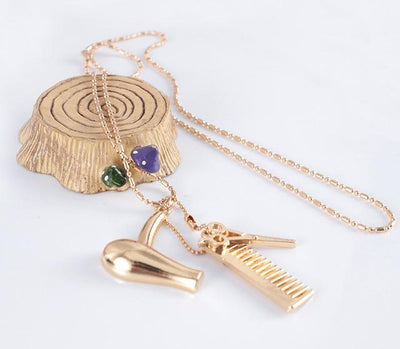 BigProStore Hair Stylist Gift Idea Hairstylist Necklace Dryer Scissors Comb Pendants Gold Necklace