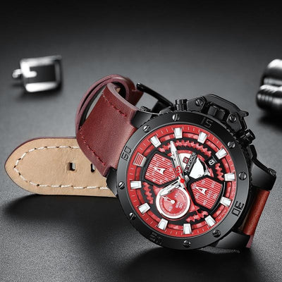 BigProStore Men Red Firefighter Watch Sport Leather Chronograph Firemen Wristwatch Red Wristwatch