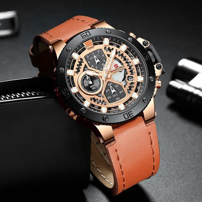 BigProStore Men Red Firefighter Watch Sport Leather Chronograph Firemen Wristwatch Orange Wristwatch