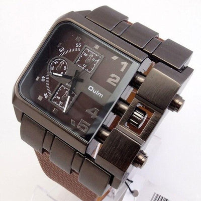 BigProStore Red Firefighters Watch Sport Men Square Leather Firemen Wristwatch Brown Wristwatch