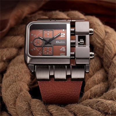 BigProStore Red Firefighters Watch Sport Men Square Leather Firemen Wristwatch Wristwatch