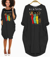 BigProStore African Women Dresses Melanin Sisters Long Sleeve Pocket Dress Black Women Shirt Afrocentric Apparel Black History Gift Ideas Black / S Women Dress