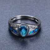 Walastyle Ocean Blue Fire Opal Ring