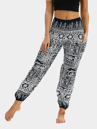 Women's Mural Printed Loose Yoga Pants