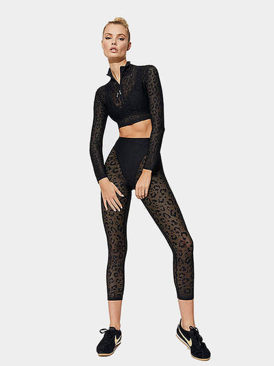 Women's Leopard Lace Workout Sports Set