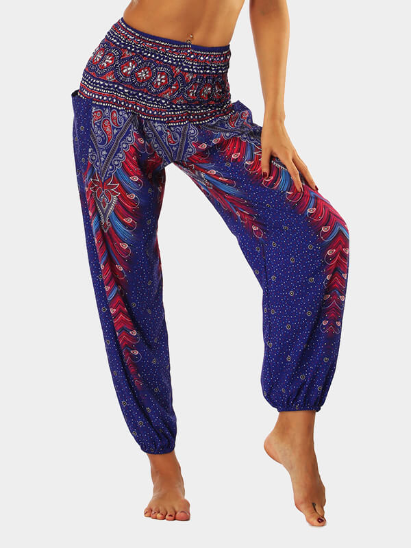 Women's Blue Ethnic Style Printed Loose Yoga Pants