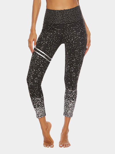 Women's Gold Printed Yoga Pants