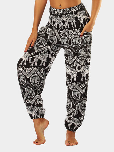 Women's Elephant Printed Loose Yoga Pants