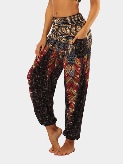 Women's Feather Ethnic Wind Loose Yoga Pants