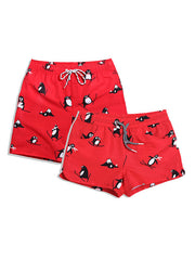 LikeBunny Couple's Beach Red Shorts