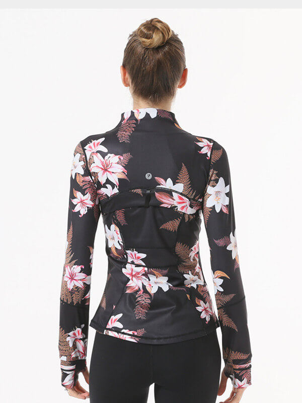 Women's Flower Printed Yoga Jacket
