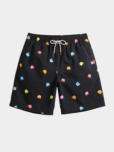 Men's Black Spotted Beach Shorts