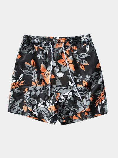 Men's Black Printed Beach Shorts