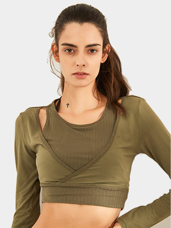 Likebunny Loose Your Mood Long Sleeve Crop Top