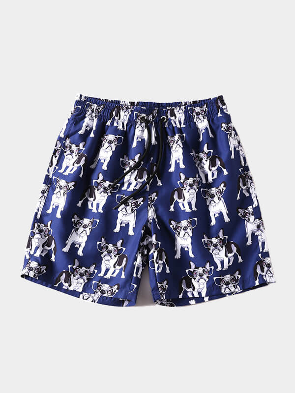 Men's Puppy Printed Beach Shorts