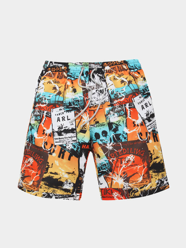 Men's Graffiti printed Beach Shorts