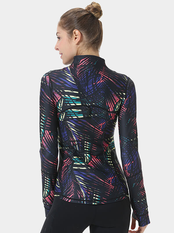 Women's Tight-Fitting Graffiti Yoga Jacket
