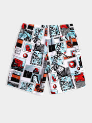 Men's Comic Printed Beach Shorts