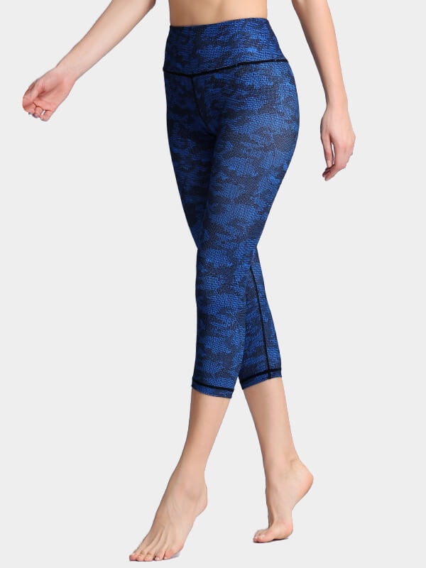 Women's Blue Printed Tight Yoga Pants