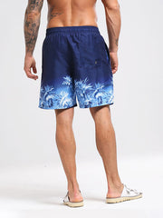 Men's Blue Printed Beach Shorts