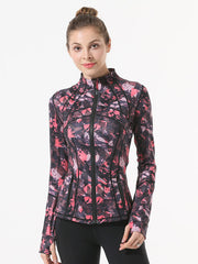 Women's Red Printed Yoga Jacket