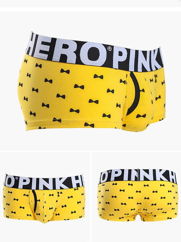 LikeBunny Cravat Printed Boxer Brief w/Fly 809 yellow