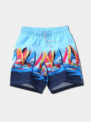 Men's Blue Painted Beach Shorts
