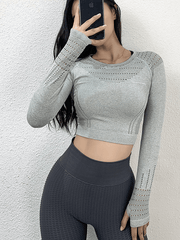 LikeBunny Flurry Up Long Sleeve Crop Top
