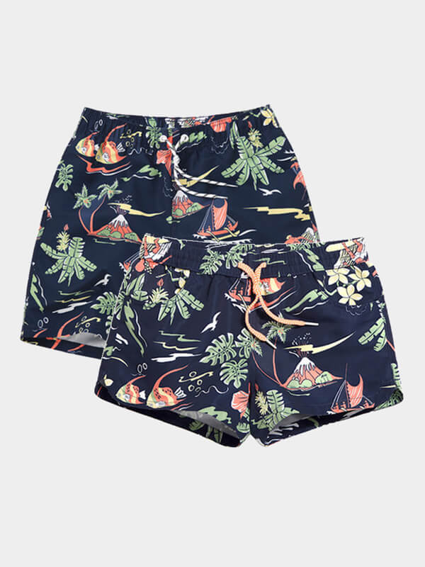 Couple's Holiday Light Beach Shorts