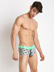 LikeBunny Moustache Printed Boxer Brief w/Fly 809 grey