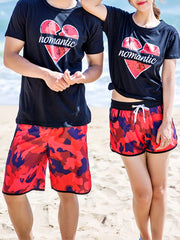Fashion Camouflage Pattern Couple's Beach Shorts Red