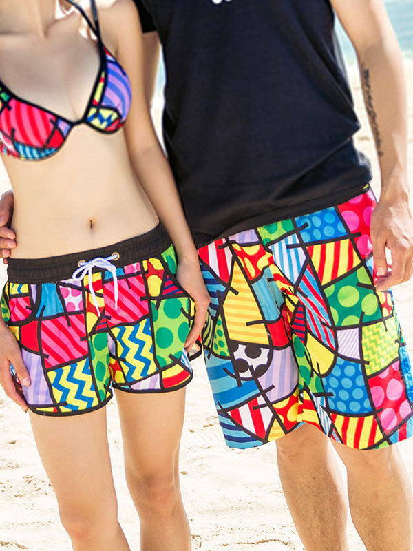 Colorful Block Geo Pattern Couple's Beach Shorts
